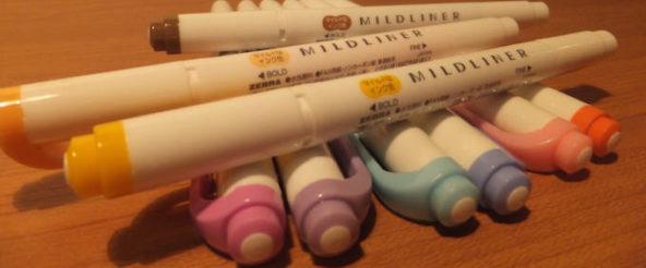 MILDLINER(マイルドライナー)は蛍光ペンだけどチカチカしない色。目にやさしいマイルド色で彩ってみる