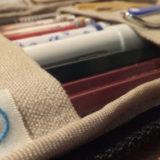 つくしペンケースに一軍文具の定位置を決めて一覧化! 帆布製で手触りもキモチイイ!≡