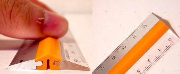 ピタットルーラーは押さえるとピタッとすべらない定規。異なる材質(アクリル&アルミ)で両面使える仕様も機能的