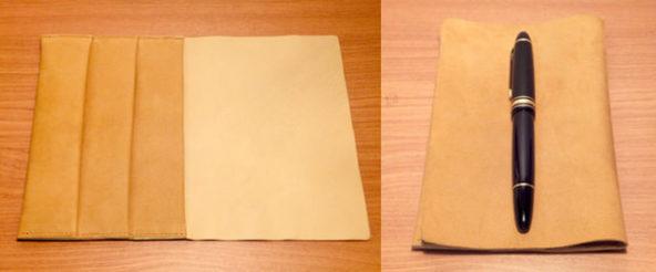 神戸派計画のロールペントレイ。「袱紗」のように優雅に広げて、たたんでペンを載せる