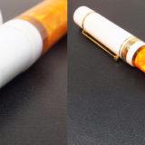 デルタのフュージョンニブの万年筆 (ドルチェビータ・ミディアムの別注品)。好みのオレンジ軸をガシガシ実用