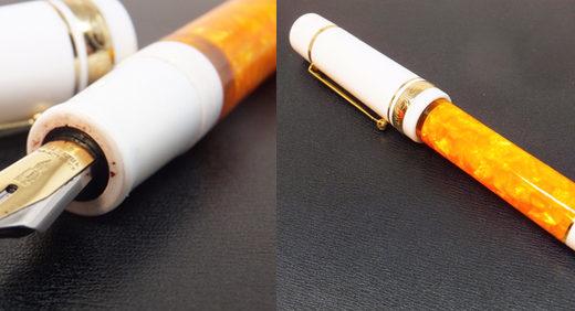 デルタのフュージョンニブの万年筆 (ドルチェビータ・フェデリコの別注品)。好みのオレンジ軸をガシガシ実用